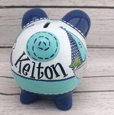 Personalizada hucha fila su barco artesanal pintado cerámica