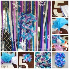Tissue Paper Number for birthday party - easy how to tutorial to DIY decoration - Frozen Party - the cake, decorations, games and food ideas and how to - My Brown Paper Packages