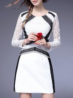 Buy it now. White Crew Neck Crochet Hollow Out Dress. White Round Neck Long Sleeve Lace Shift Short Color Block Fabric has no stretch Spring Vintage Day Dresses. , vestidoinformal, casual, camiseta, playeros, informales, túnica, estilocamiseta, camisola, vestidodealgodón, vestidosdealgodón, verano, informal, playa, playero, capa, capas, vestidobabydoll, camisole, túnica, shift, pleat, pleated, drape, t-shape, daisy, foldedshoulder, summer, loosefit, tunictop, swing, day, offtheshoulder, s...