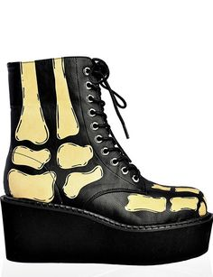 Platform Combat Boot - Glow in the Dark Xray by Too Fast Clothing
