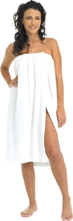 Terry Salon Wrap (#227)  *Poly/cotton stretch terry cloth  *Elastic top with Velcro closure  *Ideal for salon and spas  *Machine washable  *Made in USA  *Color: White