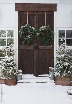 Fresh Farmhouse- Home Exterior. Noel Christmas, Merry Little Christmas, Rustic Christmas, All Things Christmas, Winter Christmas, Outdoor Christmas, Christmas Wreaths, Winter Porch, Christmas Entryway