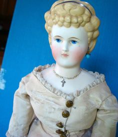 "Antique 1800s Parian 18"" Lady Doll Repaired Humpty Dumpty Tag Emma Clear 