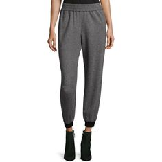 Alice + Olivia Pete Smocked Waistband Jogger Pants ($285) ❤ liked on Polyvore featuring pants, multi, cuff pants, cuffed jogger pants, jogger pants, slouch trousers and waistband pants