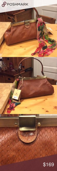 PATRICIA NASH TOOLED WEAVE LEATHER HANDBAG Gorgeous Satchel,Brand New✨Scarf included Patricia Nash Bags Satchels