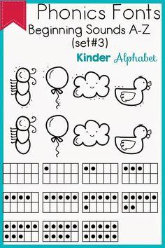 Kinder Alphabet: Phonics Fonts for Teachers Update Teacher Fonts, Teacher Resources, Professor, Abc Phonics, Beginning Sounds, Pre School, Literacy, Kindergarten, Craft Projects