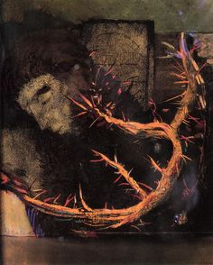 "leaddust: ""  Odilon Redon Christ with Red Thorns Size: 50x40 cm Medium: charcoal on paper """