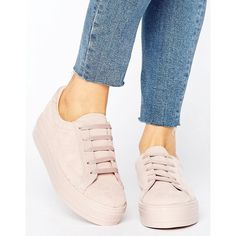 ASOS DAY TRIP Flatform Trainers (£27) ❤ liked on Polyvore featuring shoes, sneakers, beige, flatform sneakers, laced shoes, lace up shoes, laced up shoes and flatform shoes