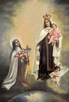 Therese Our Lady of Mt. Carmel Novena Prayer created by ShowerOfRoses. Catholic Art, Catholic Saints, Religious Art, Ste Therese, St Therese Of Lisieux, St Edith Stein, Lady Of Mount Carmel, Novena Prayers, Religious Pictures