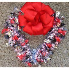 Sugar Free Valentine Candy Heart Wreath by CandyWreathsbyCarla ($24) found on Polyvore