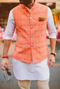 orange waist coat, peach waist coat, peach nehru jacket, mehendi outfit, short kurta, pants