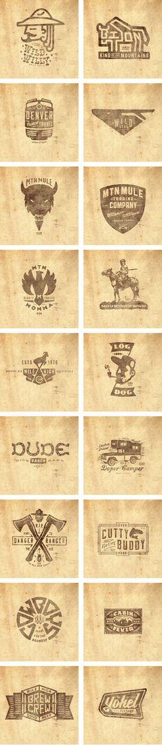 Typography-THINKMULE™ MTN MULE™ TRADING COMPANY logos set.