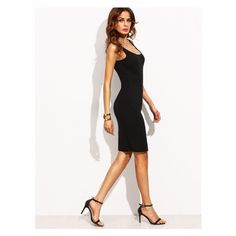 Black Scoop Neck Sleeveless Tank Dress (935 RSD) ❤ liked on Polyvore featuring dresses, scoop neckline dress, scoop-neck dresses, sleeveless dress, tank top dress and no sleeve dress