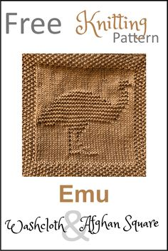 Free Emu Dishcloth or Afghan Square Knitting Pattern - Daisy and Storm Knitted Dishcloth Patterns Free, Knitting Squares, Baby Boy Knitting Patterns, Knitted Washcloths, Knit Dishcloth, Knitted Blankets, Loom Knitting, Free Knitting, Baby Knitting