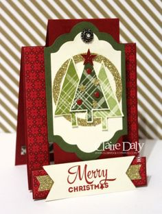 Stampin Up Lots of Joy stano set, Lots of Labels framelits, centre step Christmas card by Claire Daly SU Demo Australia
