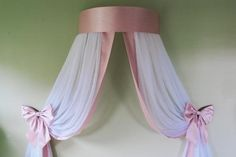 Simple and elegant style. Materials shown in the picture: sheer voile curtains and faux silk dupioni fabric (top of the crown, trim on edges and bows). Ruffle Curtains, Strip Curtains, Twin Canopy Bed, Curtain Length, Beautiful Bedrooms, Tulle, Crown, Etsy, Simple