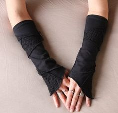 Arm Warmers by Luna Design Wrist Warmers, Hand Warmers, Captain America Suit, Post Apocalyptic Clothing, Clothing Patterns, Hat Patterns, Stitch Patterns, Knitting Patterns, Gloves Fashion