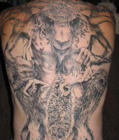 aaa512a2475a2 Big Satan Tattoo On Full Back Devil Tattoo, Tattoo On, Tattoo Signs, Tattoo