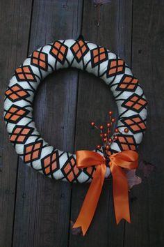 Argyle Yarn Wreath for fall. $35.00, via Etsy.