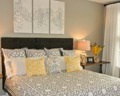 Simple Bedroom Staging Ideas ***grey, yellow and black for guest room? Guest Bedroom Decor, Home Bedroom, Guest Room, Bedroom Ideas, Master Bedroom, Dream Bedroom, Master Bath, Home Staging Tips, Beautiful Bedrooms