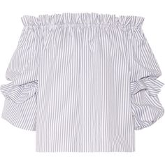 Caroline Constas Gia off-the-shoulder striped cotton-poplin blouse (1.367.055 COP) ❤ liked on Polyvore featuring tops, blouses, shirts, ruffle shirt, ruffle blouse, loose shirts, white off the shoulder shirt and shirt blouse