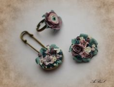 polymer clay flowers - pin, ring and brooch.