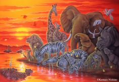 """Song of the Sun"" White Rhinoceros, African Elephants, Cheetahs, White Tigers, Giraffes, Zebras, Lions, flamingos, Hippopotamuses, Snowy Herons  50.0 × 72.7cm, Arylic on canvas, 2012 Gallery Big Mammals1 - Art of Kentaro Nishino"