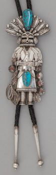 American Indian Art:Jewelry and Silverwork, A NAVAJO SILVER AND STONE BOLO TIE. c. 1970 ...Opening Bid $625.00