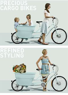 Cutest bike ever...I dream of one in yellow.  Madsen Cycles Cargo Bikes ♡ ♡ ♡