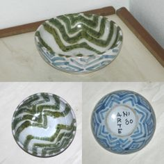 ciotola bianca, verde e celeste in ceramica