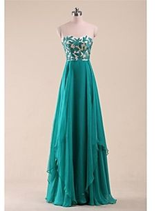 Prom/Quinceanera Dress A-line Sweetheart Floor-length Chiffo... – USD $ 149.99