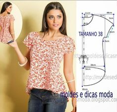 ideas for sewing patterns free blouse moda Diy Clothing, Sewing Clothes, Blouse Patterns, Clothing Patterns, Diy Fashion, Ideias Fashion, Fashion Design, Moda Fashion, Creation Couture