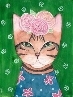 Frida Catlo Original Watercolor On Wood Cat Folk Art Painting #FolkArt