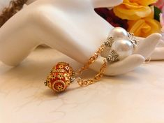 Earrings Red Gold and White Pierced Handmade One of a Kind