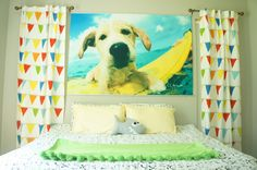 Love this over-sized print of the family dog in this bright #nursery!