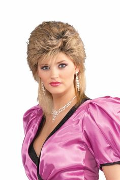 80s Salon Wig - Pretty in perms, this fem-mullet style challenges most of the traditional 80s hair styles.  Short in the front with awesome auburn roots give this wig an awfully 80s touch. The hair in the back is about shoulder length and bright salon blond.  Find your prom dress with puffy shoulders and bust it out for a unique 80s look and much more! Great for famous country stars and 80s hair metal bands. Unisex and one size will indeed fit most this Halloween.  #mullet #yyc #costume #wig