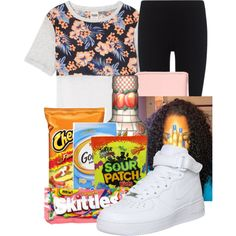 Quick Run to 7/11 by princessqm9 on Polyvore featuring Victoria's Secret, James Perse, NIKE, MARC BY MARC JACOBS and River Island