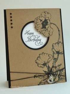 handmade birthday card from Paper Pleats and Ribbon Roses ... kraft with black and white ... poppies ... outside the box die cut technique places one flower going over the die cut focal circle ... great card!!