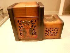 Cigarette Dispenser Wooden Owl Music Box Ashtray Lights Up Amazing