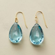 """AZURE EARRINGS--Simply spectacular: a beautiful blue quartz, an uncommon cut. 24kt vermeil French wires. Handcrafted in USA. Exclusive. 1-1/2""""L."""