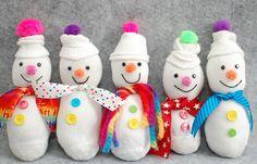 muñecos de nieve con un calcetín