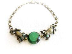 Frog bracelet woodland stone bracelet simple by MalinaCapricciosa