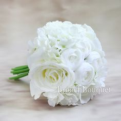 Silk Artificial Flower Bridal Bridesmaid Bouquet Peony Roses Hydrangeas Wedding Decoration (White Peony 1 Set(11pcs)) *** To view further for this item, visit the image link.
