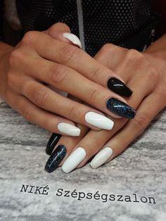 #black #white #gel #nails #fehér #fekete #köröm