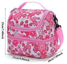 MIER fresco borsa rosa a doppio scomparto pranzo Kit riutilizzabile Pranzo Tote isolata scatola di pranzo per i bambini, ragazza, donne ( fiore rosa): Amazon.it: Casa e cucina