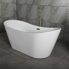 """Looking for great deals on """"Woodbridge Freestanding Bathtub""""? Compare prices from the top online home improvement retailers. Save money when buying freestanding bath tubs and fixtures for your bathroom. Whirlpool Bathtub, Jetted Bathtub, Big Bathtub, Wooden Bathtub, Jacuzzi Tub, Pedestal Tub, Soaking Bathtubs, Wood Bridge, Houses"""