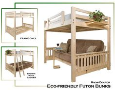 Twin over Full Liberty Futon Bunk Bed Frame; Unfinished   Price:$279.00       View More details