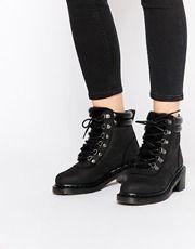 Dr Martens Parade Sylvia Black Mid Heel Hiker Boots