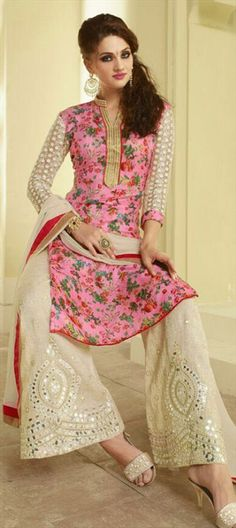 35p 453782 Pink and Majenta color family Party Wear Salwar Kameez in Net, Silk fabric with Machine Embroidery work .