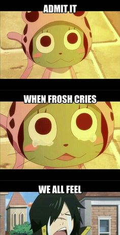 Admit it, when Frosch cries, we all feel, text, funny, Rogue, crying; Fairy Tail